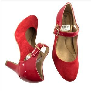 NEW! GIANNI BINI Red Suede Patent Leather Heels